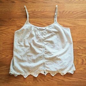 LAUREN CONRAD | Embroidered Button Down Cami